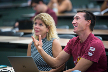 TEMPE - Oct. 1, 2015 - ASU News - Launch Day - Garret Westlake Associate Dean of Student Entrepreneurship, right along with faculty associate Erika Feinberg, gives immediate feedback and encouragement to speakers at the Open Pitch event through the Entrepreneurship & Innovation program, in the W.P. Carey School of Business, Thursday, Oct. 1, 2015. More than a dozen undergraduate students presented their two-minute business concepts before other students and a pair of mentors, with the goal of improving their storytelling and perhaps make connections to help grow their ideas into real ventures. Photo by Charlie Leight/ASU News