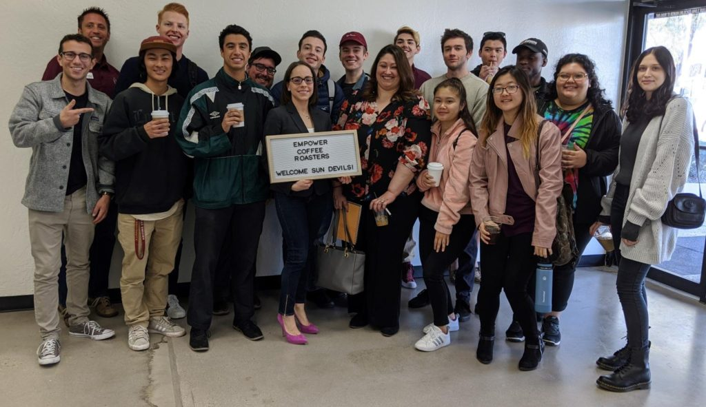 Group of 18 ASU students visiting a startup, Empower Coffee Roasters