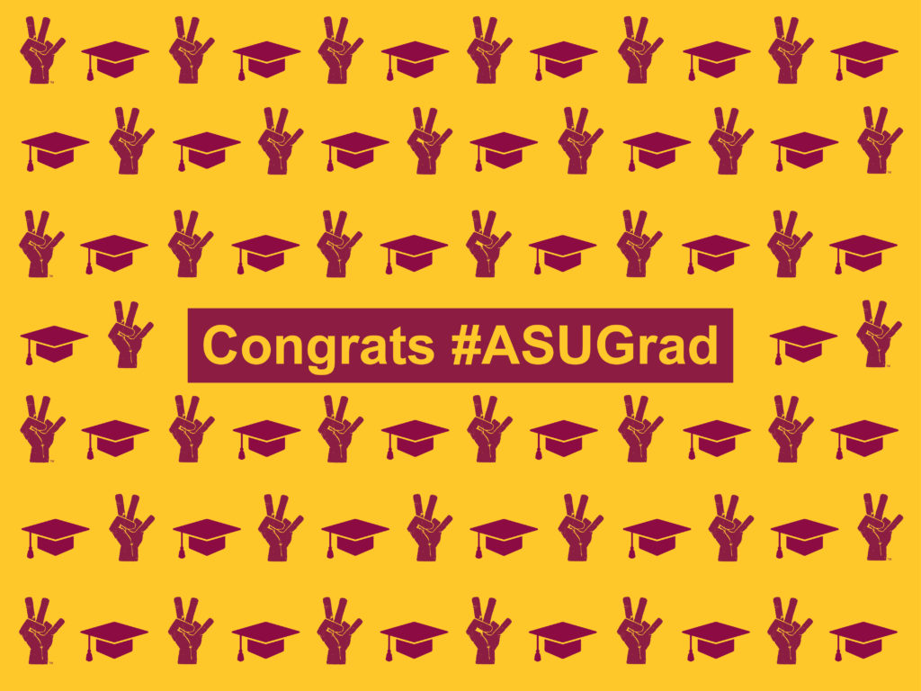 Celebratory image with caps and pitchforks in honor of ASU graduates